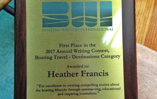 WINNNER! Boat Writers International Writing Contest 2018: Boating Travel & Destination Category